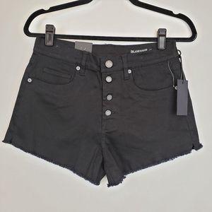 Blank NYC black the Barrow jean shorts raw hem NWT